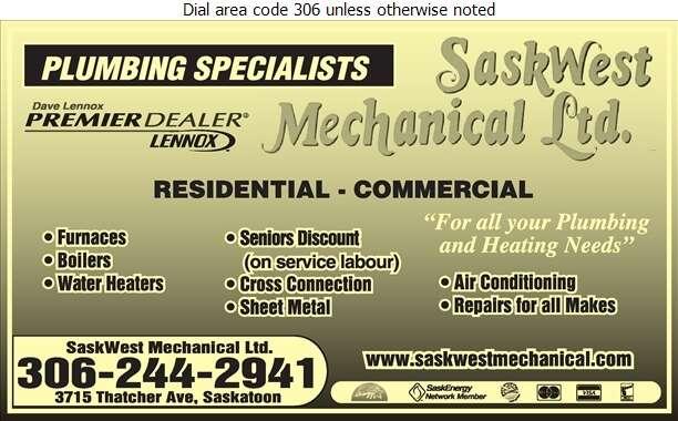 Saskwest Mechanical Ltd - Plumbing Contractors Digital Ad