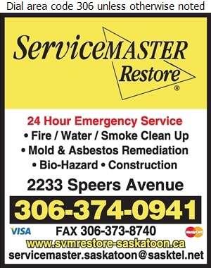 Servicemaster Restore Of Saskatoon - Fire Damage Restoration Digital Ad