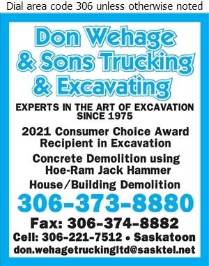 Don Wehage & Sons Trucking & Excavating - Demolition Contractors Digital Ad