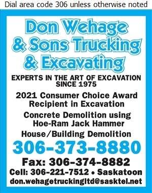 Don Wehage & Sons Trucking & Excavating - Demolition Contractors Digital Ad