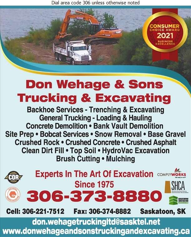 Don Wehage & Sons Trucking & Excavating - Excavating Contractors Digital Ad