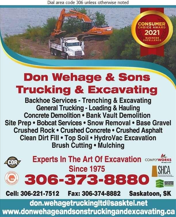 Don Wehage & Sons Trucking & Excavating - Excavating Contractors Digital Ad