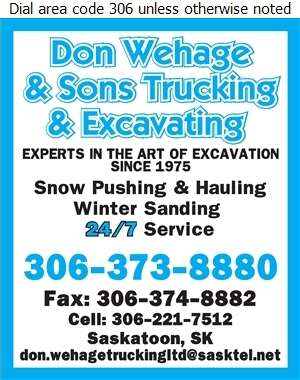 Don Wehage & Sons Trucking & Excavating - Snow Removal Service Digital Ad