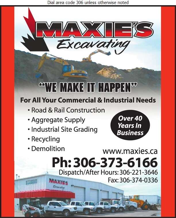 Maxie's Excavating - Excavating Contractors Digital Ad