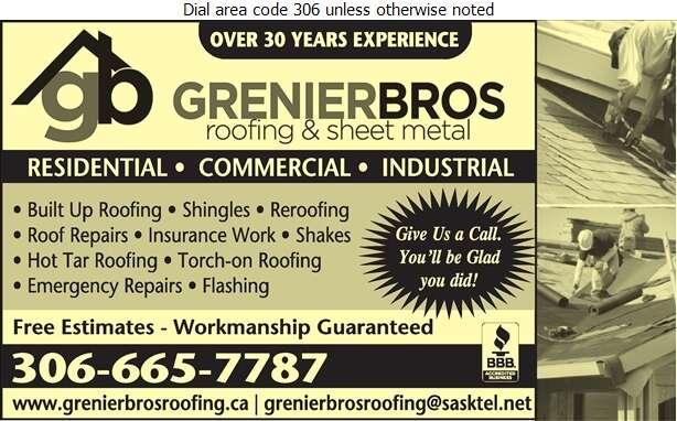 Grenier Bros Roofing & Sheet Metal Ltd - Roofing Contractors Digital Ad