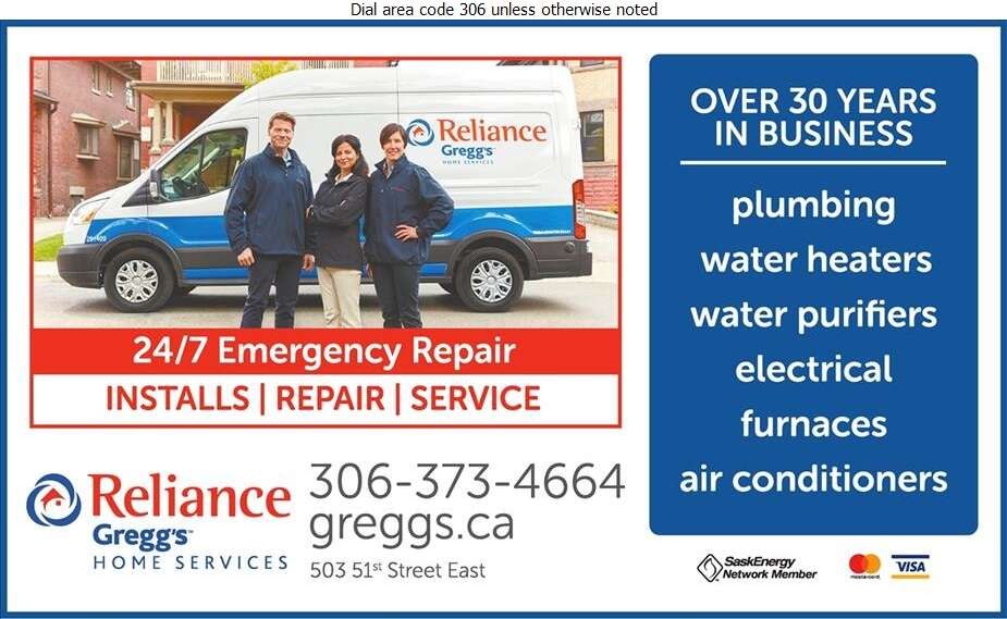Reliance Gregg's Home Services - Plumbing Contractors Digital Ad