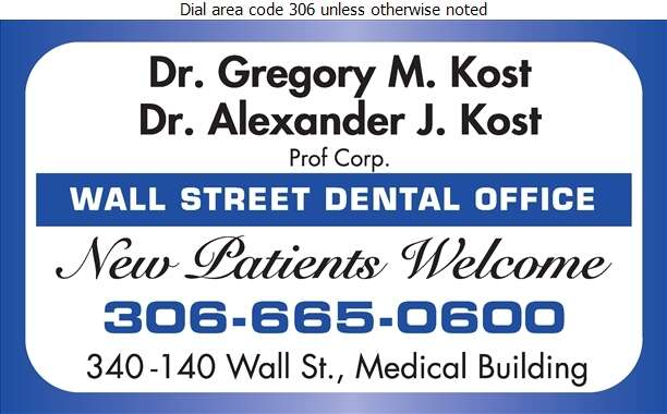 Kost Gregory M Dr (Wall Street Medical Bldg) - Dentists Digital Ad