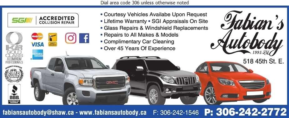 Fabian's Auto Body (1995) Ltd - Auto Body Repairing Digital Ad