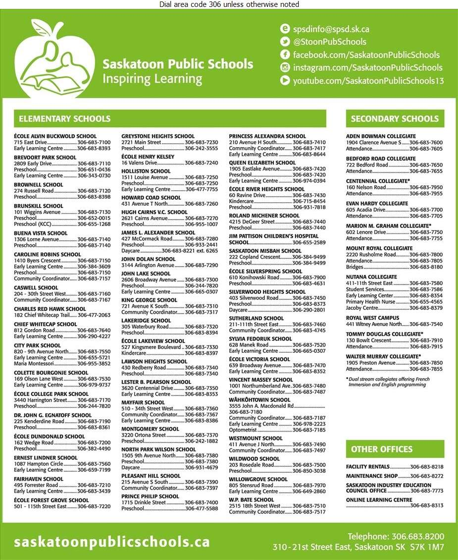 Board Of Education For Saskatoon Public Schools (Early Learning Centre Fairhaven School) - Schools & Colleges Digital Ad