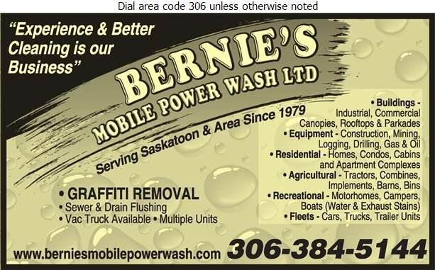 Bernie's Mobile Power Wash Ltd - Cleaning Equipment & Service Industrial Digital Ad