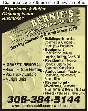 Bernie's Mobile Power Wash Ltd - Pressure Washing Equipment, Service & Supplies Digital Ad