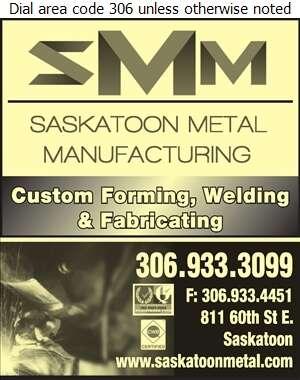 Saskatoon Metal Manufacturing Ltd - Steel Fabricators Digital Ad