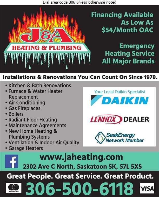 J & A Heating & Plumbing Ltd - Plumbing Contractors Digital Ad