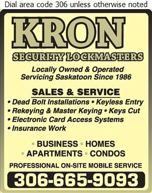 Kron Security Lockmasters Ltd - Locksmiths Digital Ad