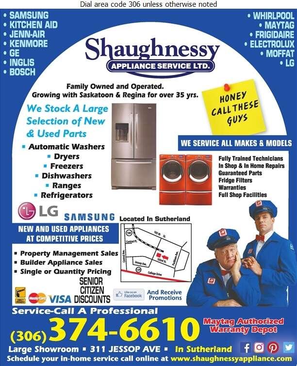 Shaughnessy Appliance Service Ltd - Appliances Major Sales, Service & Parts Digital Ad