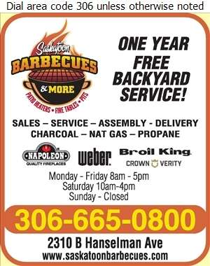 Saskatoon BBQs And More - Barbecue Equipment & Supplies Digital Ad