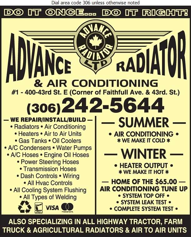 Advance Radiator & Air-Conditioning Ltd - Radiators Auto & Industrial Digital Ad