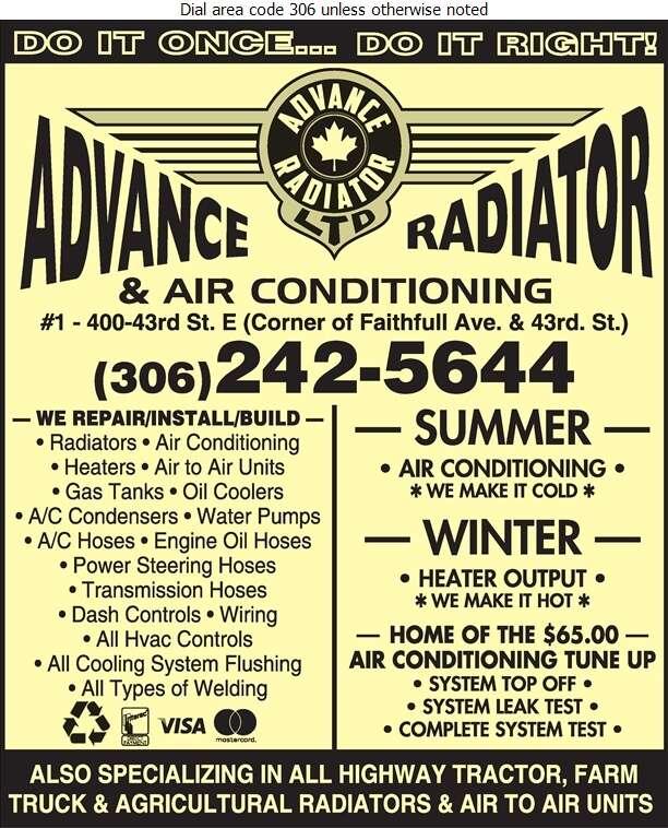 Advance Radiator & Air-Conditioning Ltd - Radiators Auto & Industrial Digital Ad