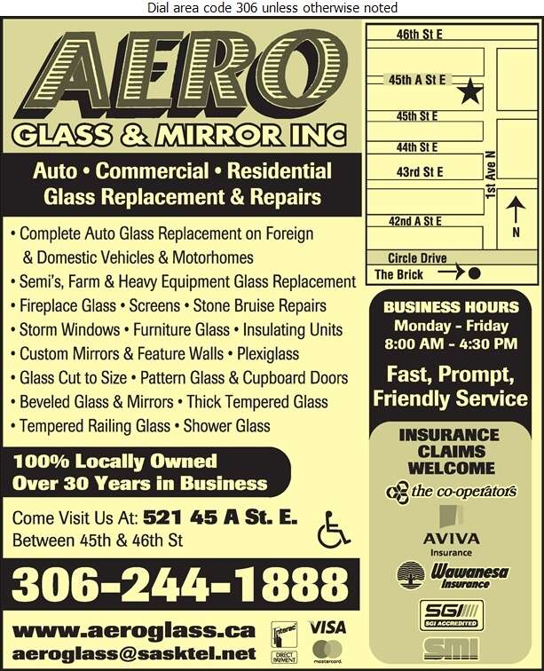 Aero Glass & Mirror Inc - Glass Auto, Float, Plate, Window Etc Digital Ad
