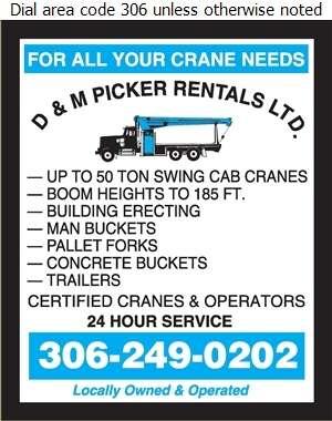 D & M Picker Rentals Ltd - Crane Service Digital Ad