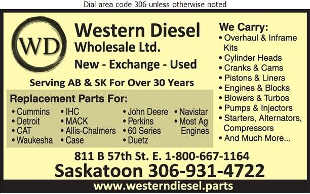 Western Diesel Wholesale - Engines Diesel Parts & Service Digital Ad