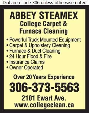 Abbey Steamex College Carpet & Furnace Cleaning - Carpet & Rug Cleaners Digital Ad