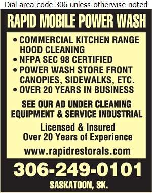 Rapid Mobile Power Wash - Restaurant Equipment Repair, Service & Installation Digital Ad