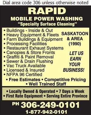 Rapid Mobile Power Wash - Pressure Washing Equipment, Service & Supplies Digital Ad