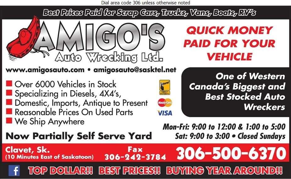 Amigo's Auto Wrecking Ltd - Auto Wrecking Digital Ad
