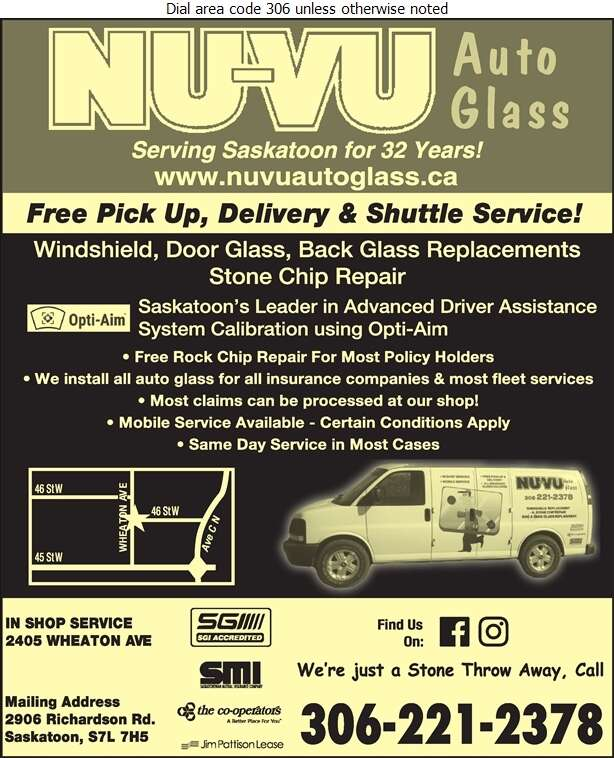 Nu Vu Auto Glass - Glass Auto, Float, Plate, Window Etc Digital Ad