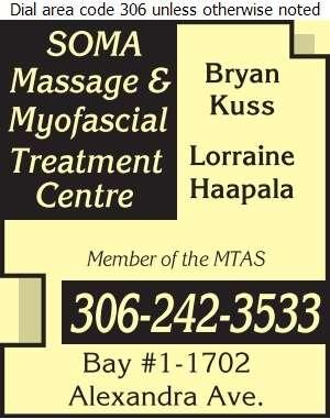 Soma Massage & Myofascial Treatment Centre - Massage Therapists Digital Ad