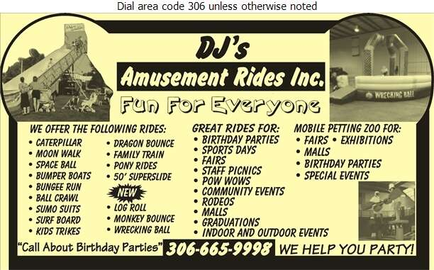 DJ's Amusement Rides - Saskatoon - Party Planning Service Digital Ad