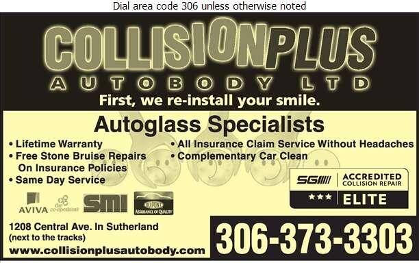 Collision Plus - Glass Auto, Float, Plate, Window Etc Digital Ad