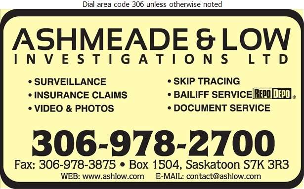 Ashmeade & Low Investigations Ltd - Investigators Digital Ad