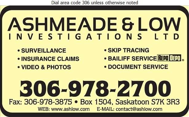 Ashmeade & Low Investigations Ltd - Investigators Digital Ad