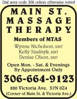 Main St Massage Therapy - Massage Therapists Digital Ad