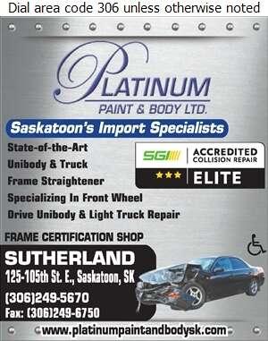 Platinum Paint & Body Ltd - Frame Straightening Car & Truck Digital Ad