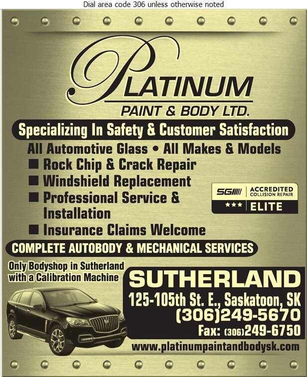 Platinum Paint & Body Ltd - Windshields Installation Digital Ad