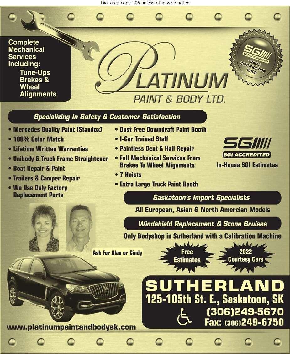 Platinum Paint & Body Ltd - Auto Body Repairing Digital Ad