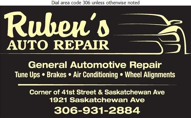 Ruben's Auto Repair - Auto Repairing Digital Ad