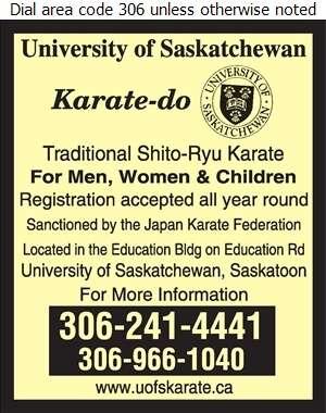 University of Saskatchewan Karate-do - Martial Arts Instruction Equipment & Supplies Digital Ad