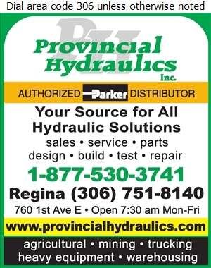 Provincial Hydraulics Inc (760 1st Ave E Regina) - Hydraulic Equipment & Supplies Digital Ad