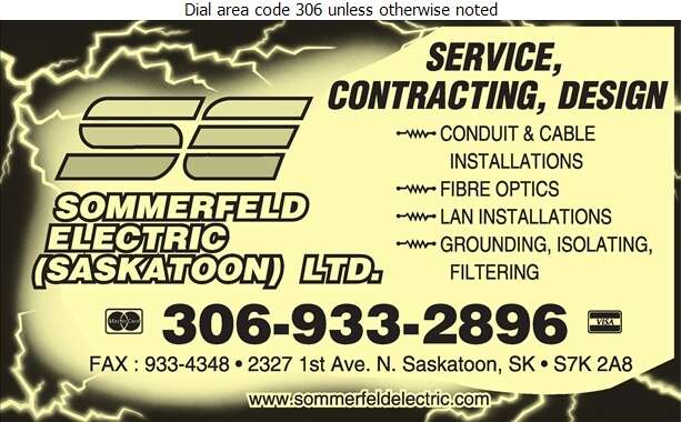 Sommerfeld Electric Saskatoon Ltd - Computers - Room Installation, Equipment & Maintenance Digital Ad