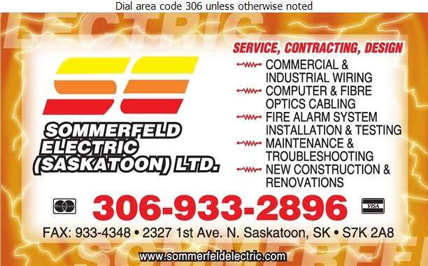 Sommerfeld Electric Saskatoon Ltd - Electric Contractors Digital Ad