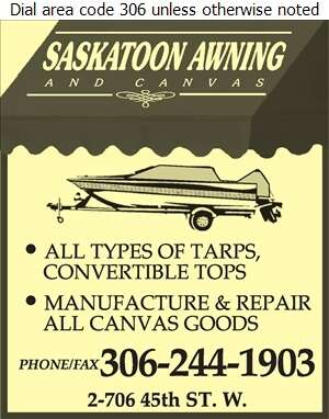 Saskatoon Awning & Canvas - Boat Equipment & Supplies Digital Ad