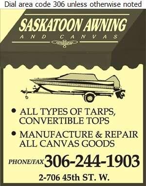 Saskatoon Awning & Canvas - Boat Equipment & Supplies Digital Ad