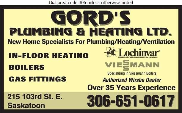 Gord's Plumbing & Heating - Plumbing Contractors Digital Ad