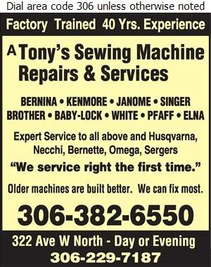 A Tony's Sewing Machine Service's - Sewing Machines Sales & Service Digital Ad