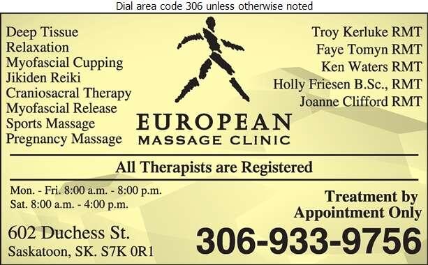 European Massage Clinic - Massage Therapists Digital Ad