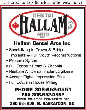 Hallam Dental Arts Inc - Dental Laboratories Digital Ad